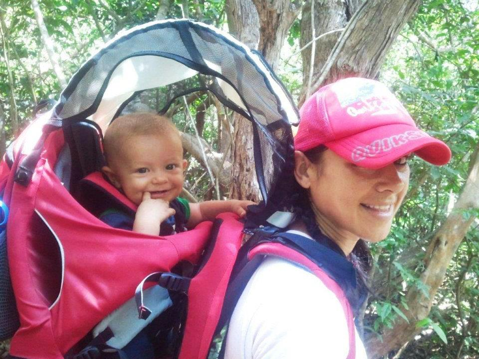 Staying fit through pregnancy_ Jodi backpacking with her son Zaiden