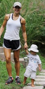 Staying fit through pregnancy_. Jodi walking with her son Zaiden